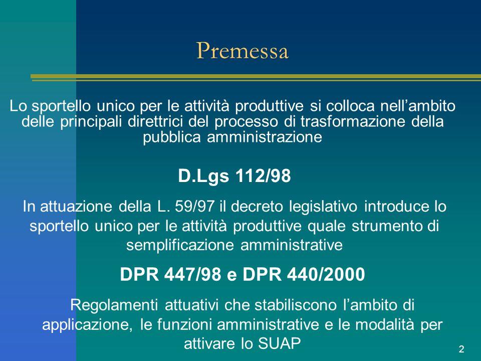 2 Premessa Lo sportello unico per le attività produttive si colloca nellambito delle principali direttrici del processo di trasformazione della pubblica amministrazione D.Lgs 112/98 In attuazione della L.