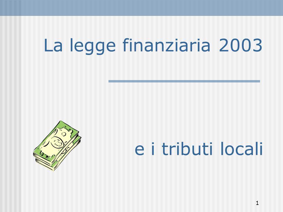 1 La legge finanziaria 2003 e i tributi locali