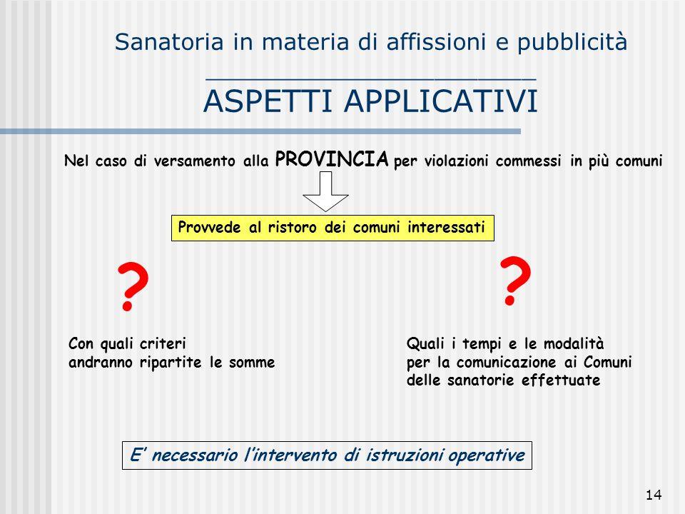 14 Sanatoria in materia di affissioni e pubblicità _______________________ ASPETTI APPLICATIVI Nel caso di versamento alla PROVINCIA per violazioni co