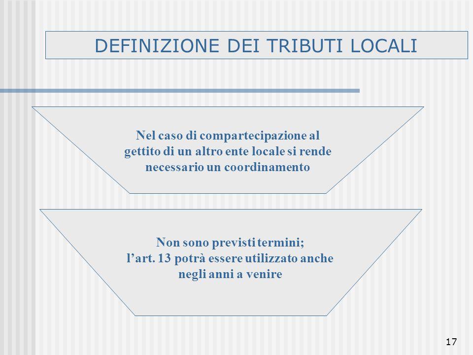 17 DEFINIZIONE DEI TRIBUTI LOCALI Nel caso di compartecipazione al gettito di un altro ente locale si rende necessario un coordinamento Non sono previsti termini; lart.