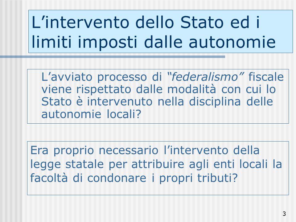 3 Lintervento dello Stato ed i limiti imposti dalle autonomie Lavviato processo di federalismo fiscale viene rispettato dalle modalità con cui lo Stato è intervenuto nella disciplina delle autonomie locali.