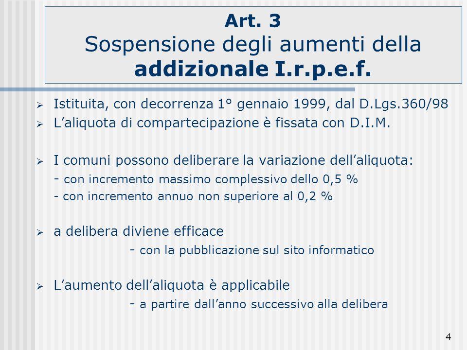 4 Art. 3 Sospensione degli aumenti della addizionale I.r.p.e.f. Istituita, con decorrenza 1° gennaio 1999, dal D.Lgs.360/98 Laliquota di compartecipaz