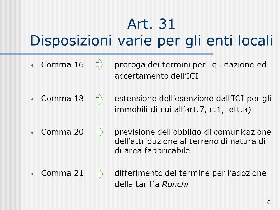 6 Art. 31 Disposizioni varie per gli enti locali Comma 16proroga dei termini per liquidazione ed accertamento dellICI Comma 18estensione dellesenzione