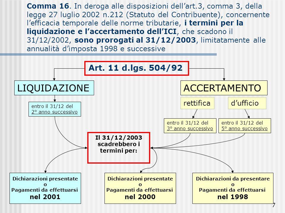 7 Comma 16. In deroga alle disposizioni dellart.3, comma 3, della legge 27 luglio 2002 n.212 (Statuto del Contribuente), concernente lefficacia tempor