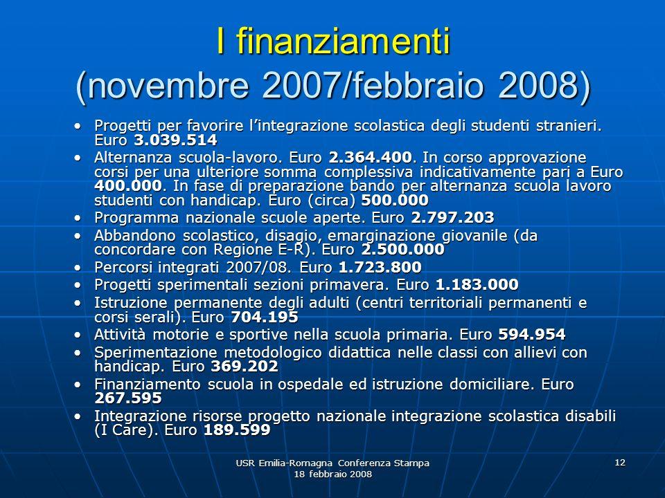 USR Emilia-Romagna Conferenza Stampa 18 febbraio 2008 12 I finanziamenti (novembre 2007/febbraio 2008) Progetti per favorire lintegrazione scolastica degli studenti stranieri.