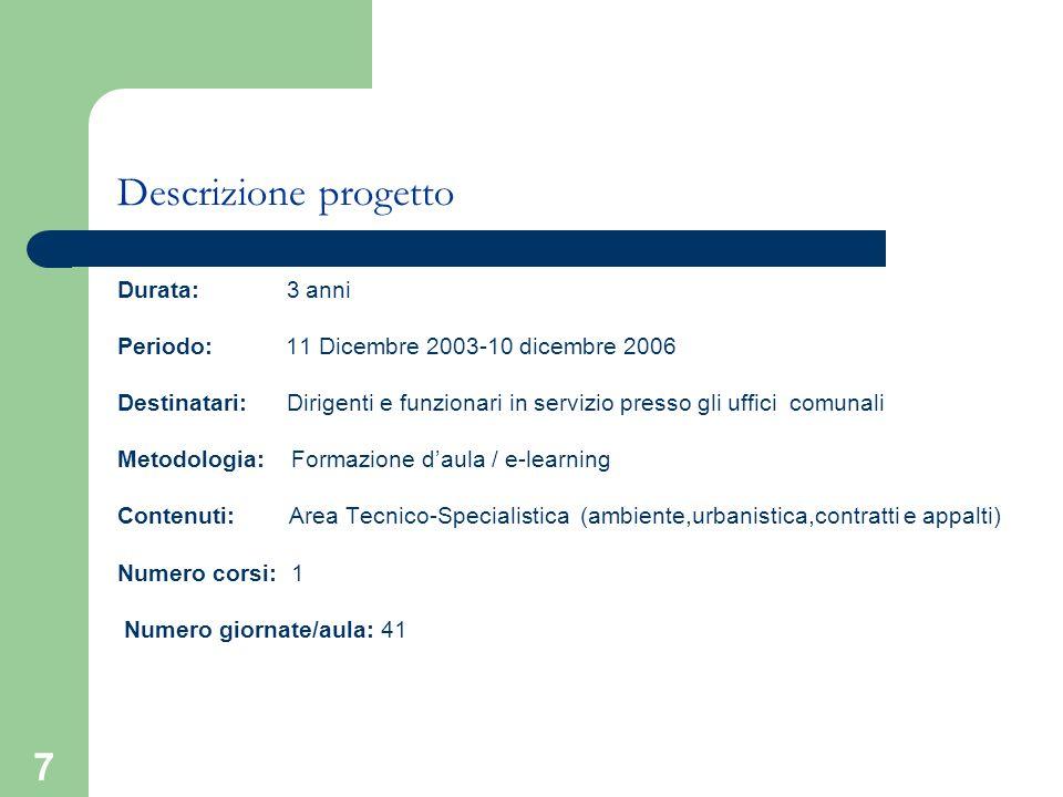7 Descrizione progetto Durata: 3 anni Periodo: 11 Dicembre 2003-10 dicembre 2006 Destinatari: Dirigenti e funzionari in servizio presso gli uffici com