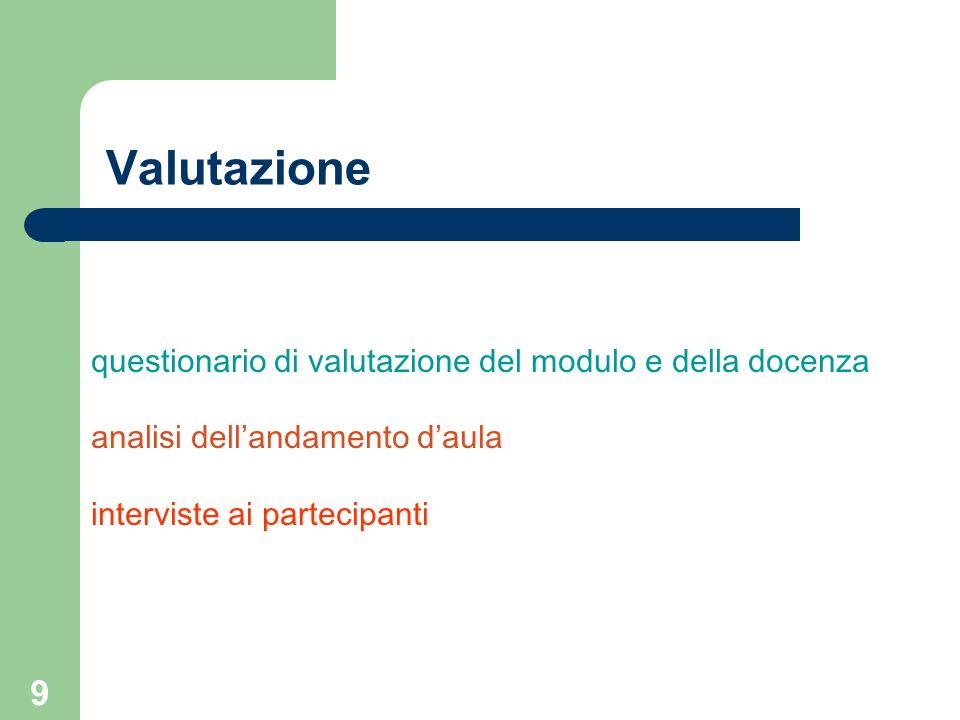 9 questionario di valutazione del modulo e della docenza analisi dellandamento daula interviste ai partecipanti Valutazione