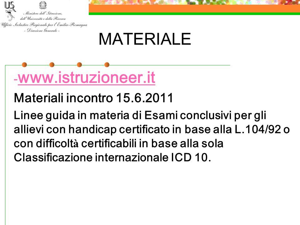 MATERIALE - www.istruzioneer.it www.istruzioneer.it Materiali incontro 15.6.2011 Linee guida in materia di Esami conclusivi per gli allievi con handic