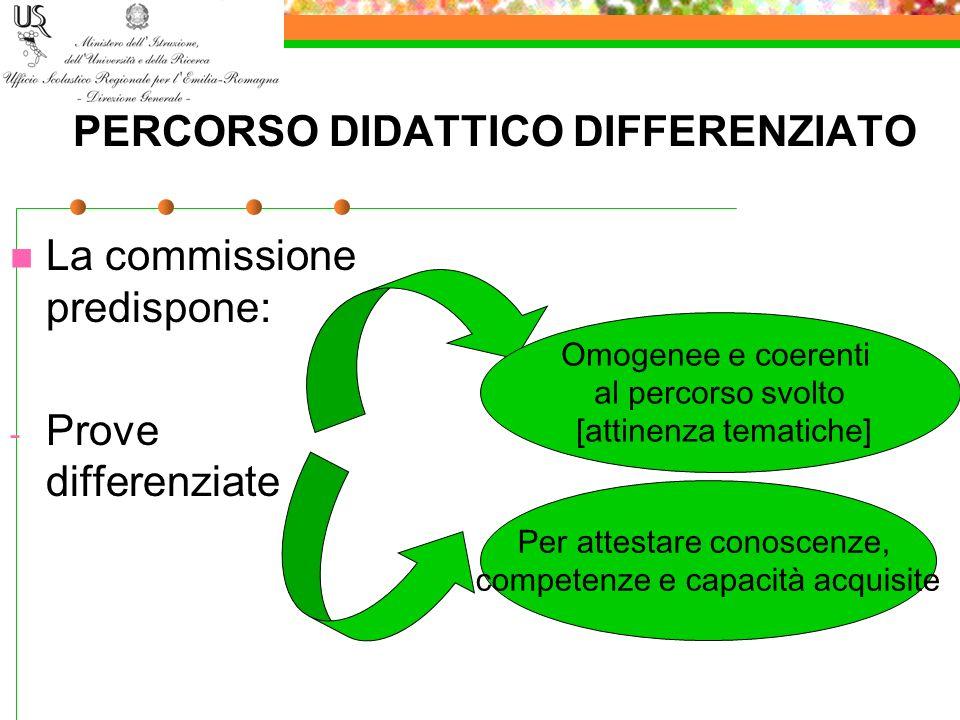 PERCORSO DIDATTICO DIFFERENZIATO La commissione predispone: - Prove differenziate Omogenee e coerenti al percorso svolto [attinenza tematiche] Per att