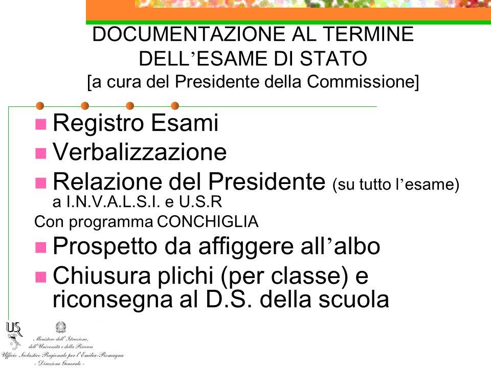 DOCUMENTAZIONE AL TERMINE DELL ESAME DI STATO [a cura del Presidente della Commissione] Registro Esami Verbalizzazione Relazione del Presidente (su tu