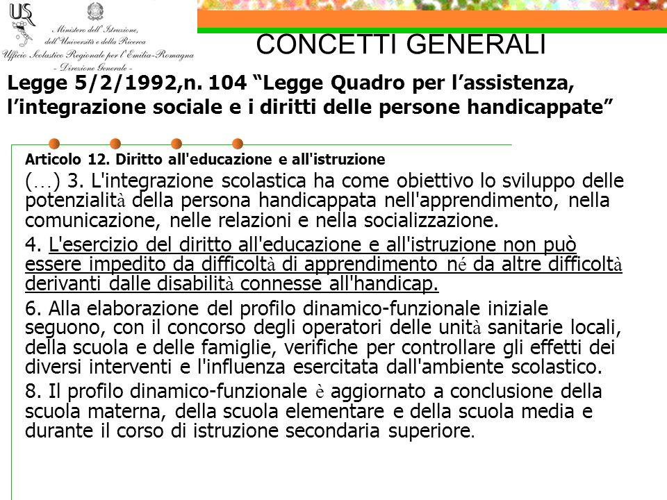 CONCETTI GENERALI Articolo 12. Diritto all'educazione e all'istruzione ( … ) 3. L'integrazione scolastica ha come obiettivo lo sviluppo delle potenzia