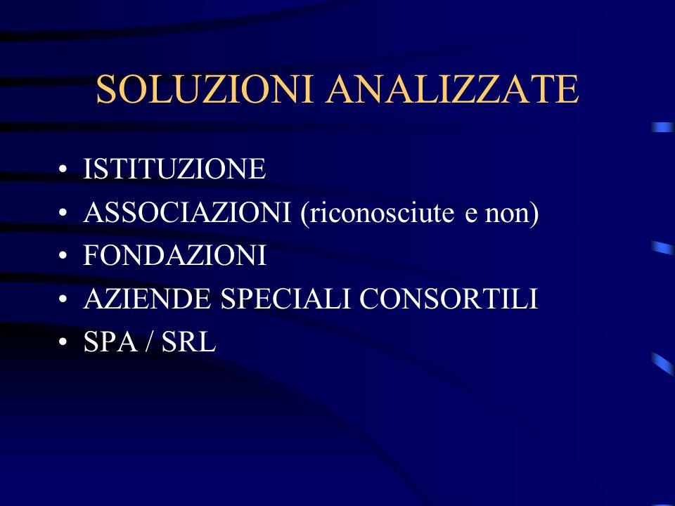 SOLUZIONI ANALIZZATE ISTITUZIONE ASSOCIAZIONI (riconosciute e non) FONDAZIONI AZIENDE SPECIALI CONSORTILI SPA / SRL