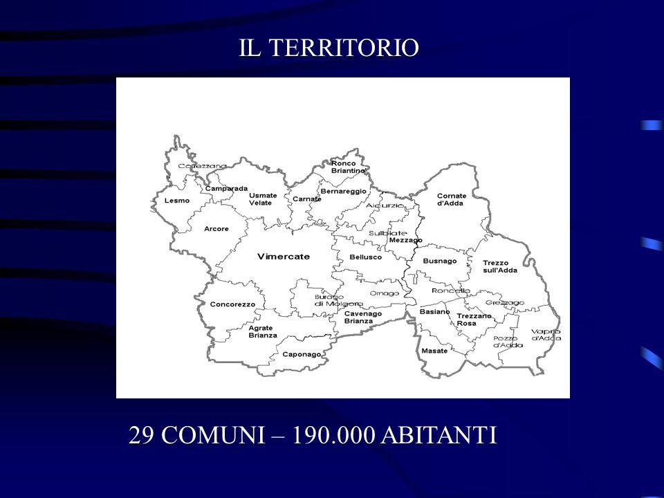 IL TERRITORIO 29 COMUNI – 190.000 ABITANTI