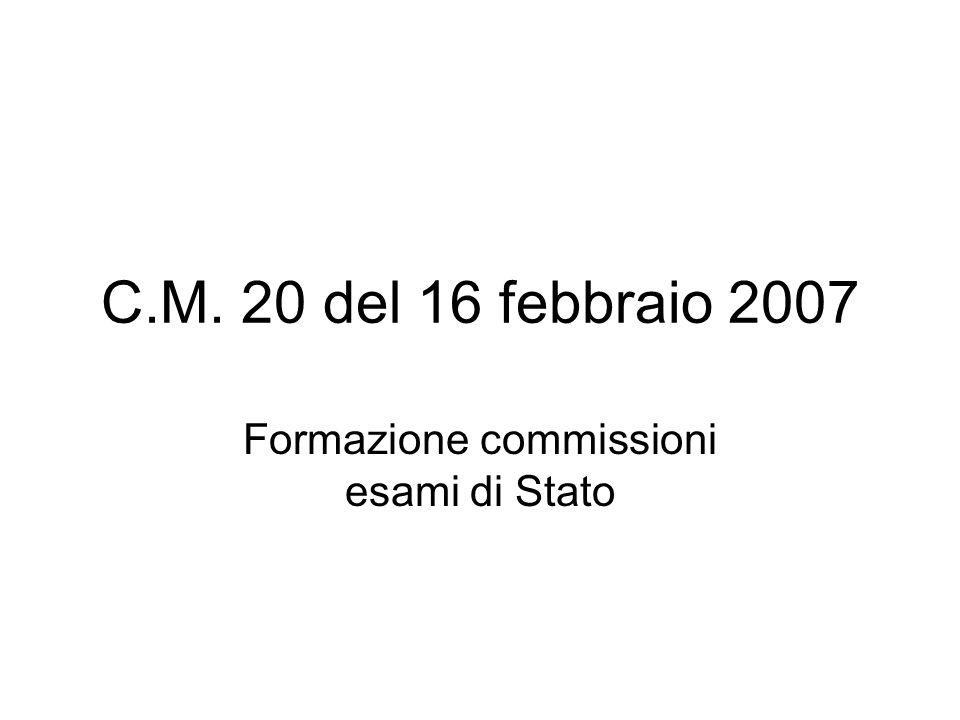C.M. 20 del 16 febbraio 2007 Formazione commissioni esami di Stato