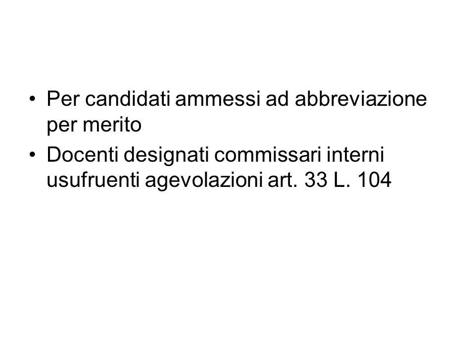 Per candidati ammessi ad abbreviazione per merito Docenti designati commissari interni usufruenti agevolazioni art.