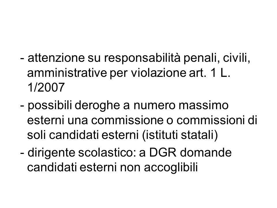 - attenzione su responsabilità penali, civili, amministrative per violazione art.