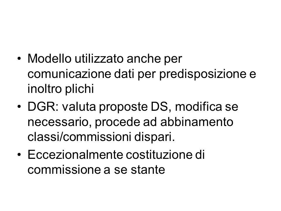Modello utilizzato anche per comunicazione dati per predisposizione e inoltro plichi DGR: valuta proposte DS, modifica se necessario, procede ad abbinamento classi/commissioni dispari.
