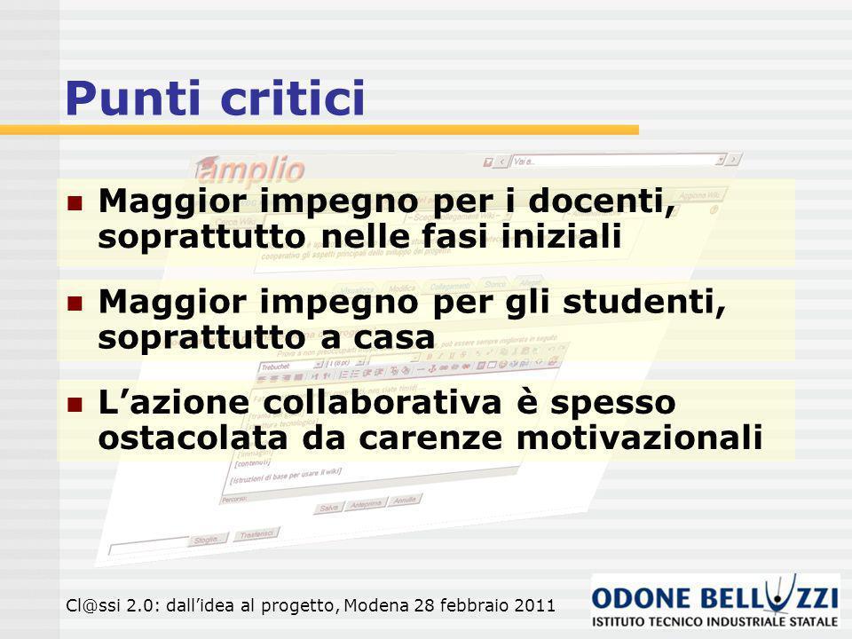 Punti critici Cl@ssi 2.0: dallidea al progetto, Modena 28 febbraio 2011 Maggior impegno per i docenti, soprattutto nelle fasi iniziali Maggior impegno per gli studenti, soprattutto a casa Lazione collaborativa è spesso ostacolata da carenze motivazionali