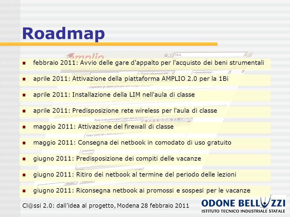 Roadmap febbraio 2011: Avvio delle gare d appalto per l acquisto dei beni strumentali Cl@ssi 2.0: dallidea al progetto, Modena 28 febbraio 2011 aprile 2011: Attivazione della piattaforma AMPLIO 2.0 per la 1Bi aprile 2011: Installazione della LIM nell aula di classe aprile 2011: Predisposizione rete wireless per l aula di classe maggio 2011: Attivazione del firewall di classe maggio 2011: Consegna dei netbook in comodato di uso gratuito giugno 2011: Predisposizione dei compiti delle vacanze giugno 2011: Ritiro dei netbook al termine del periodo delle lezioni giugno 2011: Riconsegna netbook ai promossi e sospesi per le vacanze