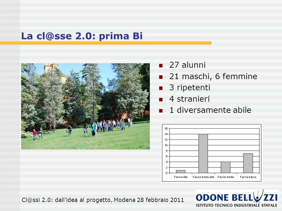 La cl@sse 2.0: prima Bi 27 alunni 21 maschi, 6 femmine 3 ripetenti 4 stranieri 1 diversamente abile Cl@ssi 2.0: dallidea al progetto, Modena 28 febbraio 2011