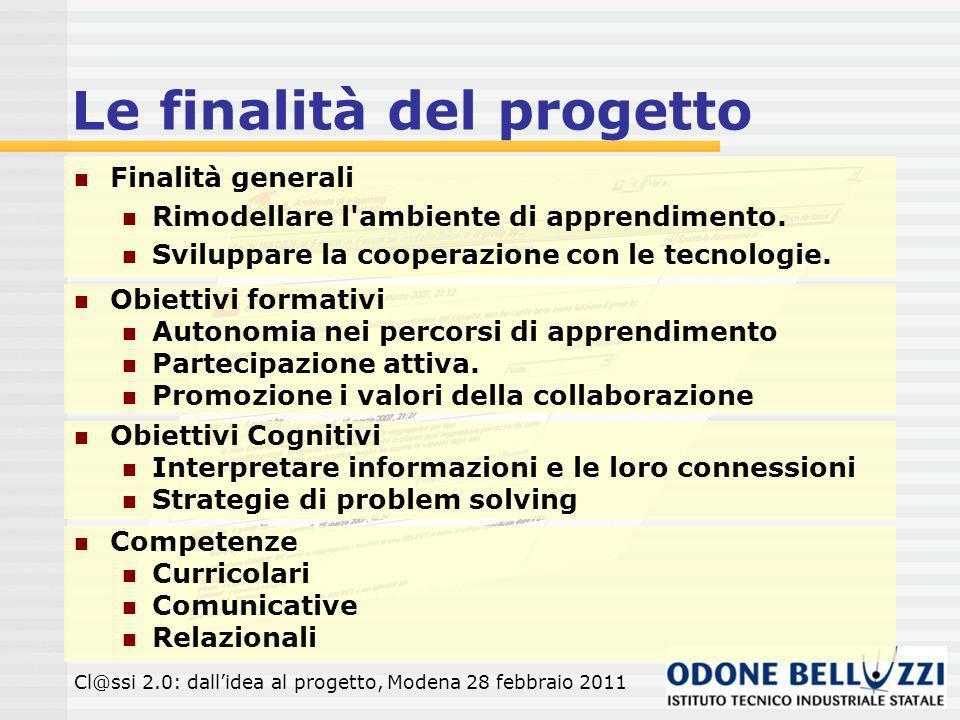 Le finalità del progetto Obiettivi formativi Autonomia nei percorsi di apprendimento Partecipazione attiva.