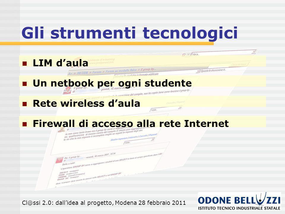 Gli strumenti tecnologici LIM daula Cl@ssi 2.0: dallidea al progetto, Modena 28 febbraio 2011 Un netbook per ogni studente Rete wireless daula Firewall di accesso alla rete Internet