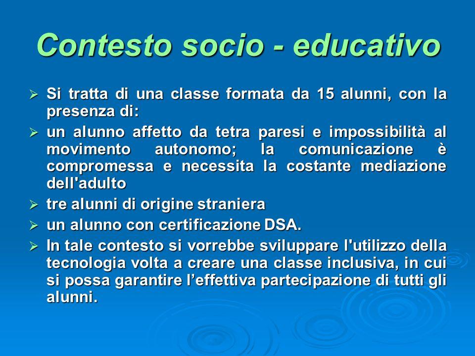 Contesto socio - educativo Si tratta di una classe formata da 15 alunni, con la presenza di: Si tratta di una classe formata da 15 alunni, con la pres