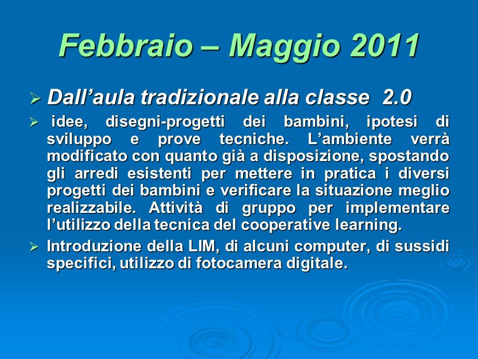 Febbraio – Maggio 2011 Dallaula tradizionale alla classe 2.0 Dallaula tradizionale alla classe 2.0 idee, disegni-progetti dei bambini, ipotesi di svil