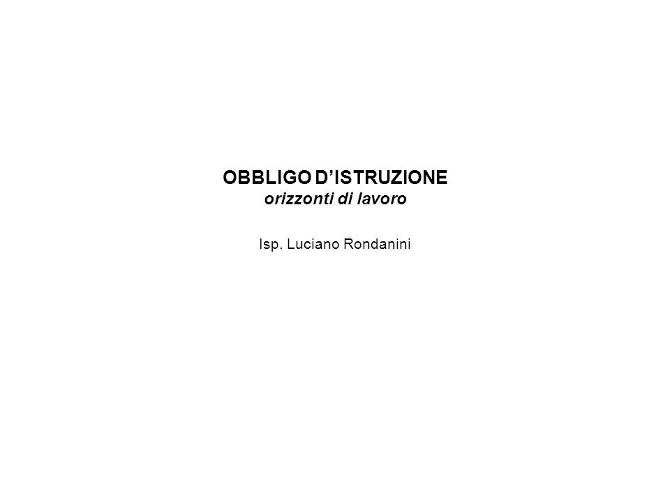 OBBLIGO DISTRUZIONE orizzonti di lavoro Isp. Luciano Rondanini