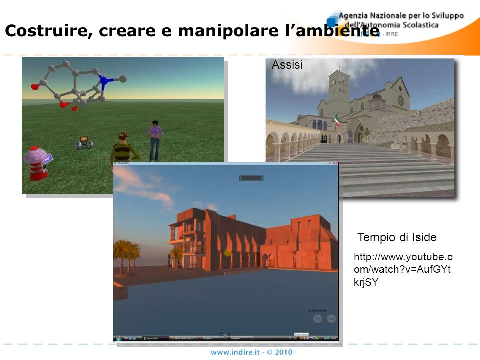 http://www.youtube.c om/watch?v=AufGYt krjSY Tempio di Iside Costruire, creare e manipolare lambiente Assisi