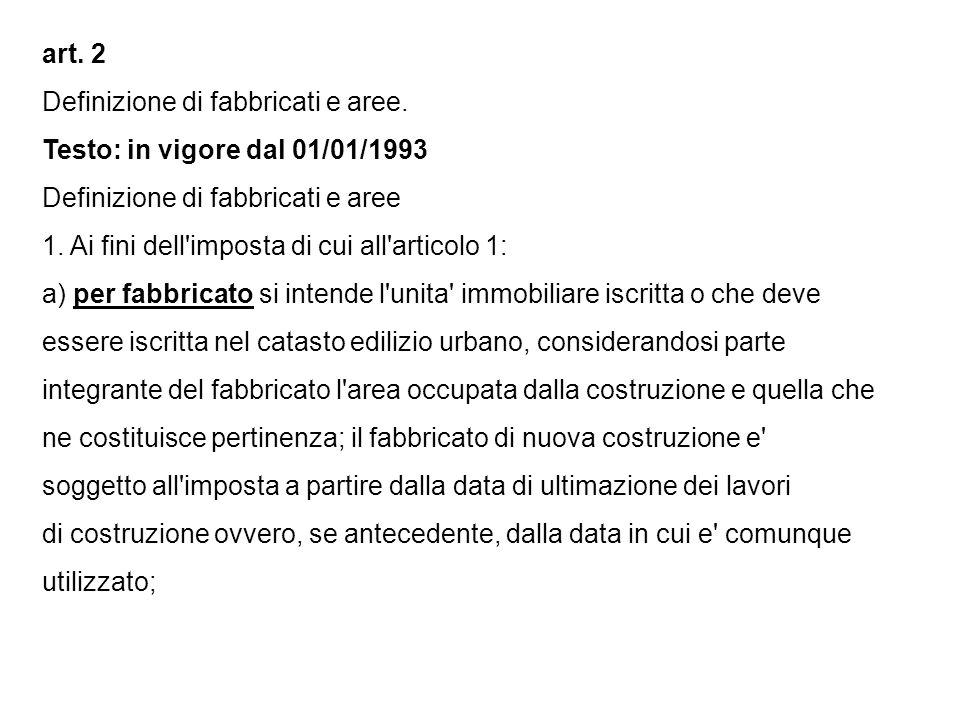 art. 2 Definizione di fabbricati e aree.