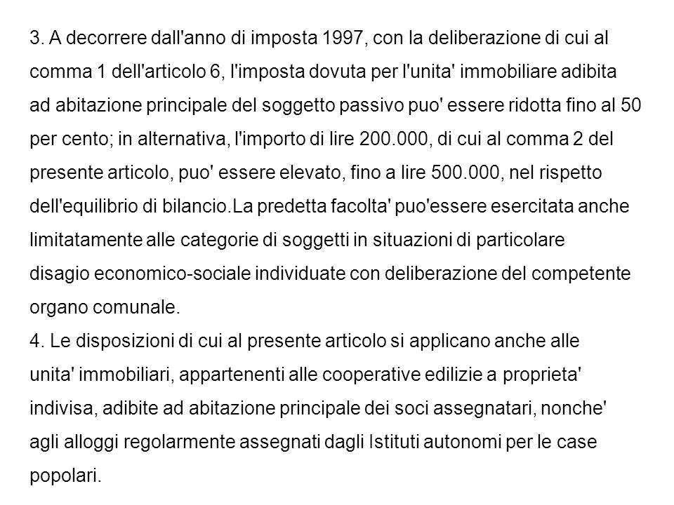 3. A decorrere dall'anno di imposta 1997, con la deliberazione di cui al comma 1 dell'articolo 6, l'imposta dovuta per l'unita' immobiliare adibita ad
