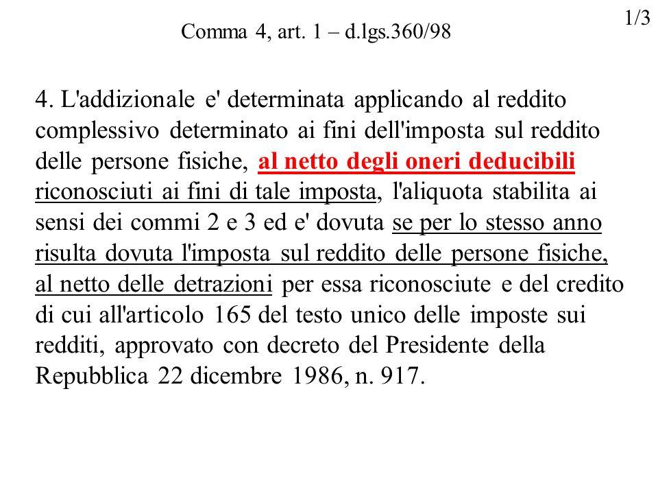 Comma 4, art. 1 – d.lgs.360/98 4. L'addizionale e' determinata applicando al reddito complessivo determinato ai fini dell'imposta sul reddito delle pe