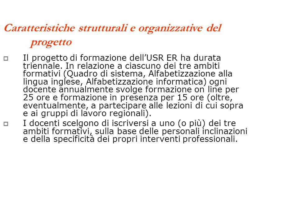 Caratteristiche strutturali e organizzative del progetto Il progetto di formazione dellUSR ER ha durata triennale.