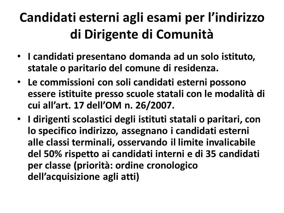 Candidati esterni agli esami per lindirizzo di Dirigente di Comunità I candidati presentano domanda ad un solo istituto, statale o paritario del comune di residenza.