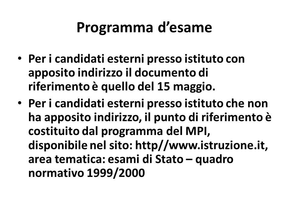 Programma desame Per i candidati esterni presso istituto con apposito indirizzo il documento di riferimento è quello del 15 maggio.