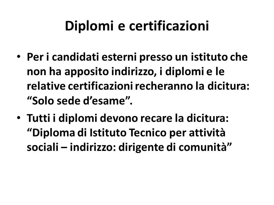 Diplomi e certificazioni Per i candidati esterni presso un istituto che non ha apposito indirizzo, i diplomi e le relative certificazioni recheranno la dicitura: Solo sede desame.