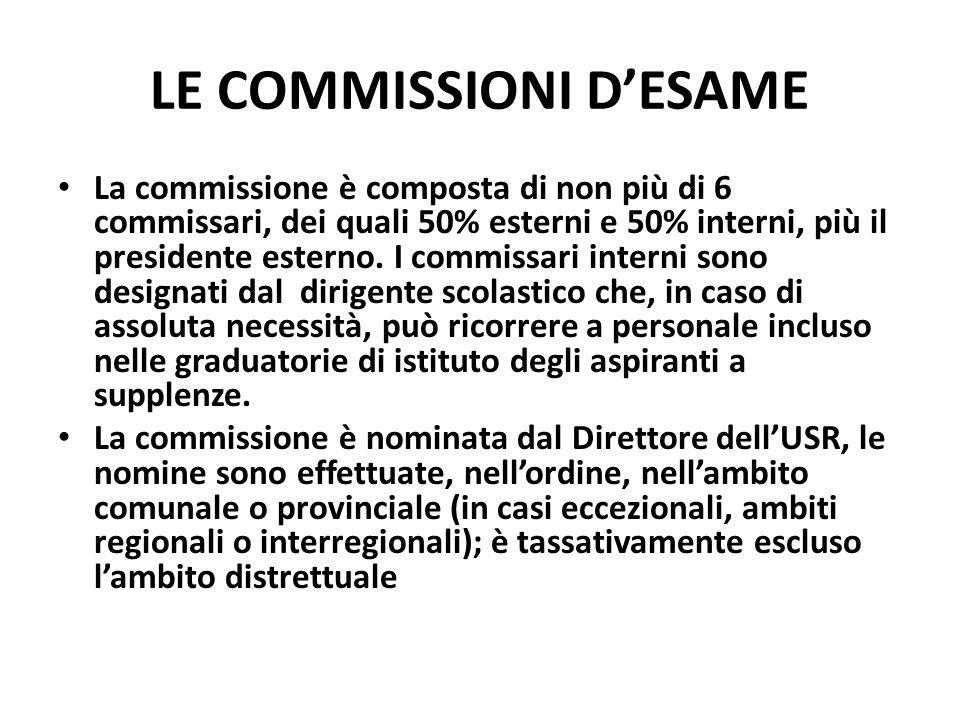 LE COMMISSIONI DESAME La commissione è composta di non più di 6 commissari, dei quali 50% esterni e 50% interni, più il presidente esterno.