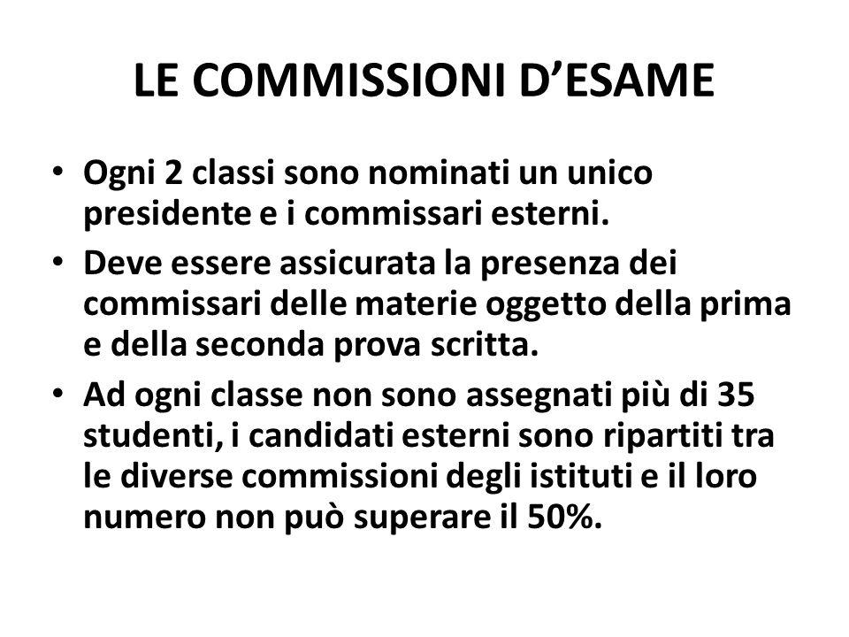 LE COMMISSIONI DESAME Ogni 2 classi sono nominati un unico presidente e i commissari esterni.