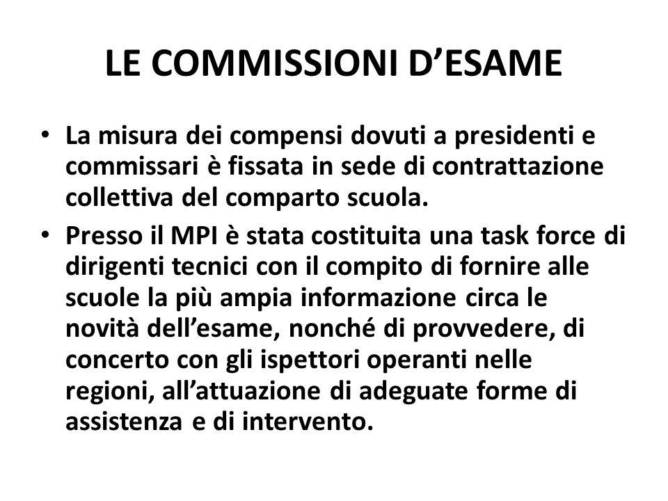 LE COMMISSIONI DESAME La misura dei compensi dovuti a presidenti e commissari è fissata in sede di contrattazione collettiva del comparto scuola.
