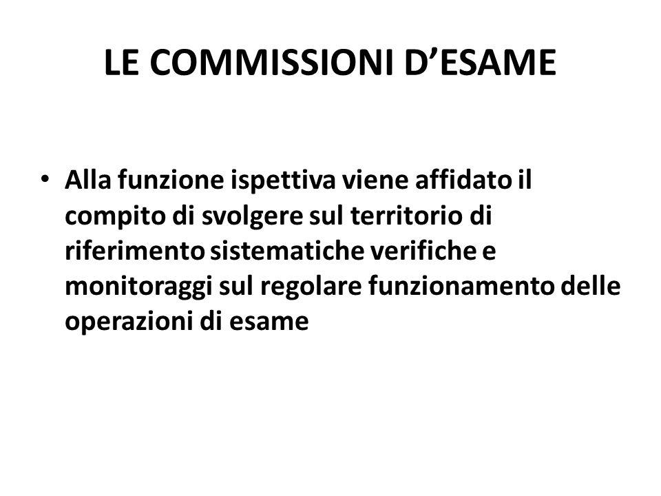 LE COMMISSIONI DESAME Alla funzione ispettiva viene affidato il compito di svolgere sul territorio di riferimento sistematiche verifiche e monitoraggi sul regolare funzionamento delle operazioni di esame
