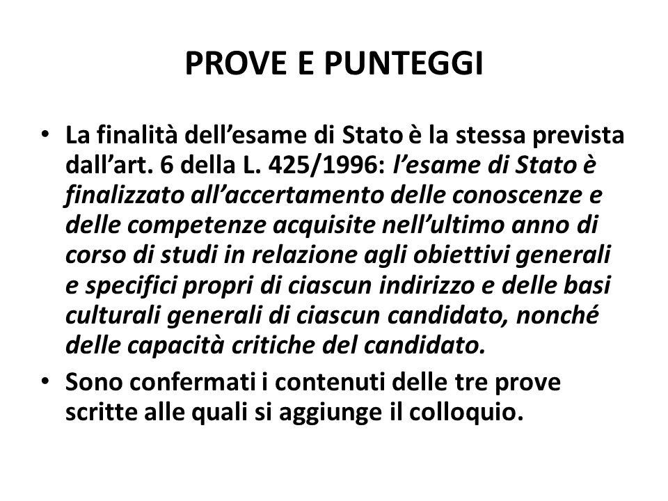 PROVE E PUNTEGGI La finalità dellesame di Stato è la stessa prevista dallart.
