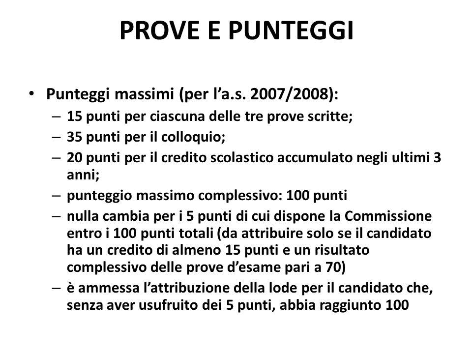 PROVE E PUNTEGGI Punteggi massimi (per la.s.