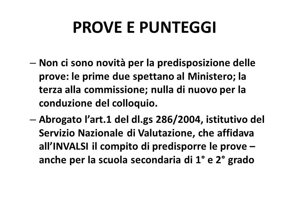 PROVE E PUNTEGGI – Non ci sono novità per la predisposizione delle prove: le prime due spettano al Ministero; la terza alla commissione; nulla di nuovo per la conduzione del colloquio.