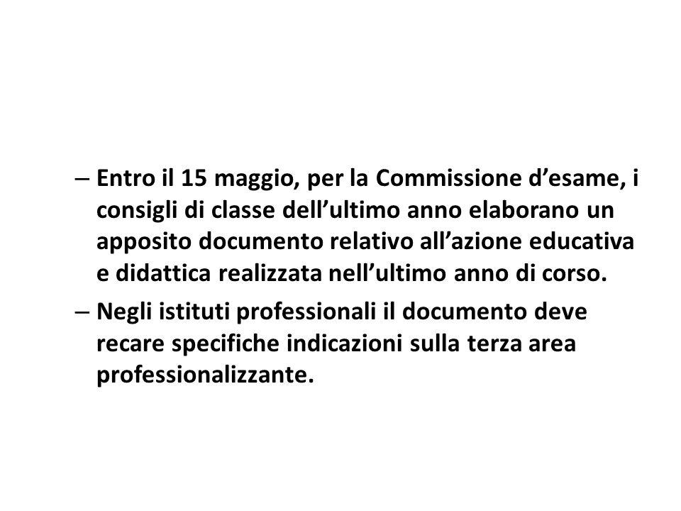 – Entro il 15 maggio, per la Commissione desame, i consigli di classe dellultimo anno elaborano un apposito documento relativo allazione educativa e didattica realizzata nellultimo anno di corso.