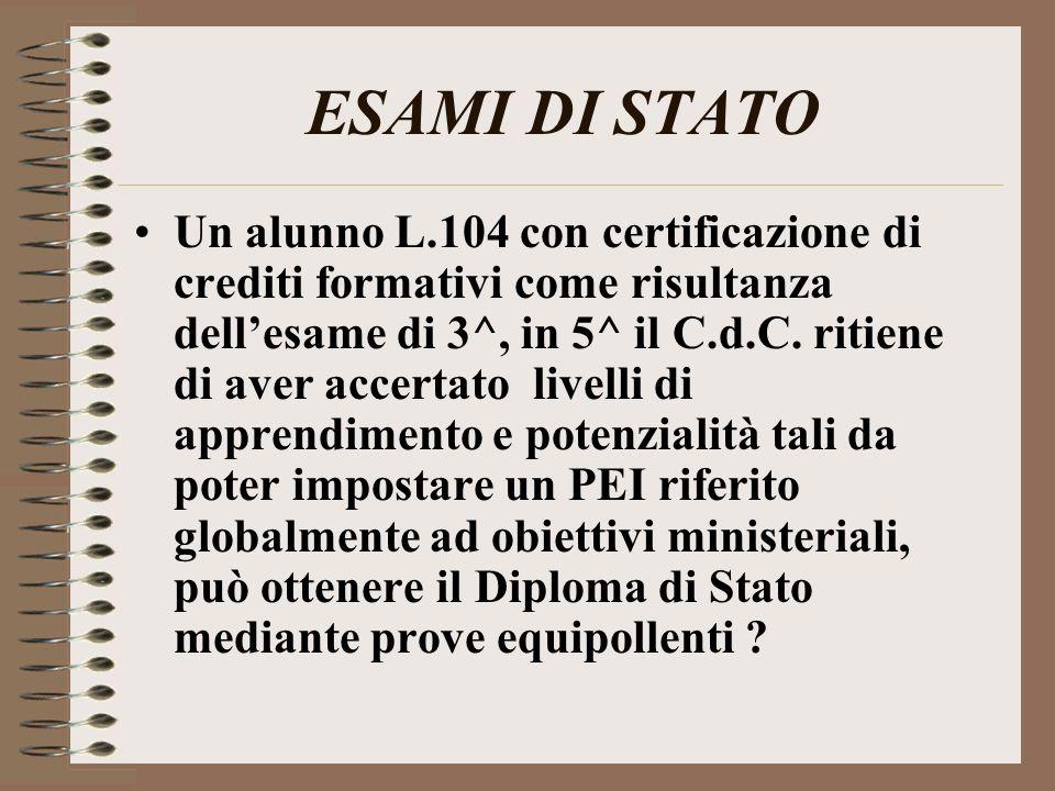 ESAMI DI STATO Un alunno L.104 con certificazione di crediti formativi come risultanza dellesame di 3^, in 5^ il C.d.C. ritiene di aver accertato live