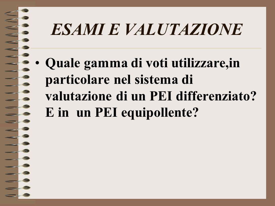 ESAMI E VALUTAZIONE Quale gamma di voti utilizzare,in particolare nel sistema di valutazione di un PEI differenziato? E in un PEI equipollente?