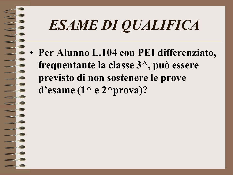 ESAME DI QUALIFICA Per Alunno L.104 con PEI differenziato, frequentante la classe 3^, può essere previsto di non sostenere le prove desame (1^ e 2^pro