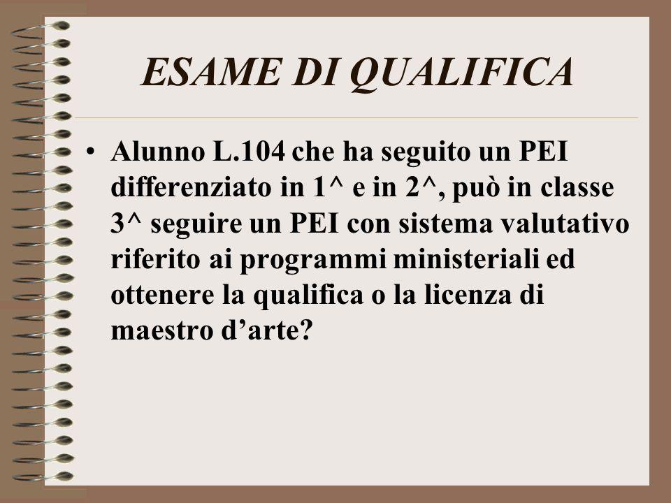 ESAME DI QUALIFICA Alunno L.104 che ha seguito un PEI differenziato in 1^ e in 2^, può in classe 3^ seguire un PEI con sistema valutativo riferito ai