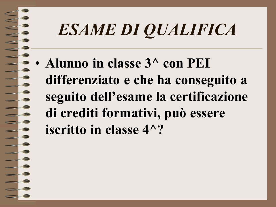 ESAME DI QUALIFICA Alunno in classe 3^ con PEI differenziato e che ha conseguito a seguito dellesame la certificazione di crediti formativi, può esser
